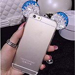 3D Mickey Mouse Rhinestone Ears Soft Transparent TPU Protect Phone Case iPhone 6 Plus/6S Plus 5.5