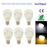 YouOKLight® 6PCS E27 3W 6*SMD5730 260LM White/ Warm White Light LED  Globe Bulbs (AC85-265V/110-120V/220-240V)