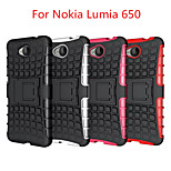 High Quality Tire Grain PC Back Cover with Stand For Nokia Lumia 650(Assorted Colors)