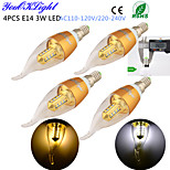 4PCS YouOKLight® E14 3W CRI=80 260lm 16-SMD2835 Warm White Light/ Cool White Light LED Candle Bulbs(AC110-120V/220-240V)