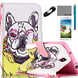 COCO FUN® Noble Dog Pattern PU Leather Case Cable Flim Stylus and Stand for Samsung Galaxy S4/S4 MINI/S5/S5 MINI