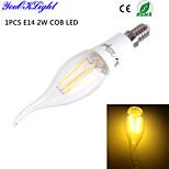 Luces LED en Vela Decorativa YouOKLight CA35 E14 4W 4 COB 260 lm Blanco Cálido AC 85-265 / AC 100-240 / AC 110-130 V 1 pieza