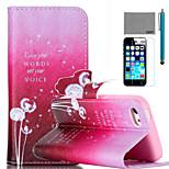 lexy® modello ballo tarassaco pu custodia in pelle corpo pieno, con la protezione dello schermo e lo stilo per iPhone 5 quater