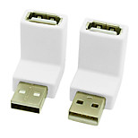 CY® USB 2.0 Male to Female 90 Degree Downward Adapter (White,2 pcs)