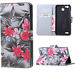Red Flowers Magnetic PU Leather wallet Flip Stand Case cover for Huawei Ascend P9