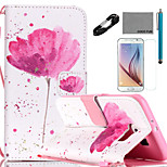 COCO FUN® A little Flower Pattern PU Leather Case Cable Film and Stylus for Samsung Galaxy S6/S6 EDGE/S6 EDGE PLUS