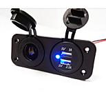 Hot!   2 Hole Panel Power Socket and Dual USB Car Charger Socket