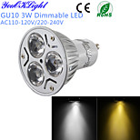 YouOKLight® 1PCS Dimmable LED GU10 3W 260LM  White/ Warm White 3-High Power LED Spot Light Bulb - (AC110-120V/220-240V)