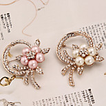New Arrival Fashion Jewelry Rhinestone Pearl Flower Brooch