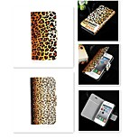 Tiger Leopard Grain Design PU Leather Full Body Case for iPhone 4/4S