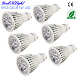 YouOKLight Lâmpada de Foco Decorativa GU10 5 W 450 LM 3000/6000 K Branco Quente / Branco Frio 5 LED de Alta Potência 6 pçsAC 220-240 / AC