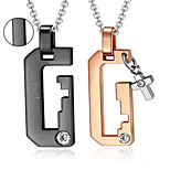 Valentine's Day Personalized Gift Lovers' Jewelry Titanium Steel Gold/Black Necklaces (One Pair)