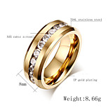 Band Rings Stainless Steel Zircon Cubic Zirconia Steel Fashion Jewelry Party 1pc