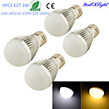 YouOKLight® 4PCS E27 3W 6*SMD5730 260LM White/ Warm White Light LED  High quality Globe Bulbs (AC110-120V/220-240V)