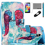 COCO FUN® Wings Pattern PU Leather Case with V8 USB Cable Flim Stylus and Stand for Samsung Galaxy S4/S4 MINI/S5/S5 MINI