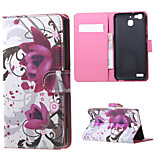 Purple Flowers Magnetic PU Leather wallet Flip Stand Case cover for Huawei Ascend P9