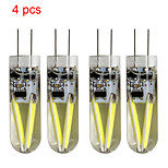 4 pcs Kakanuo G4 1.5W Filament COB 120-150lm Cool White Decorative LED Bi-pin Lights DC/AC 12 V