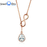 Genuine 925 Sterling Silver Infinity Jewelry Cubic Zirconia Women Pendant Necklace
