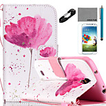 COCO FUN® A little Flower Pattern PU Leather Case Cable Flim Stylus and Stand for Samsung Galaxy S4/S4 MINI/S5/S5 MINI