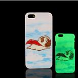 cão pug padrão de brilho na tampa traseira de plástico duro escuro para iphone 5 por 5s iphone caso