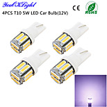 youoklight® 4pcs t10 5W 400LM 10 smd7020 6000k luz branca lâmpada LED Car Light (12v)