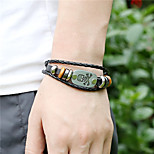 Unisex Alloy Leather Handcrafted Vintage Strand Bracelet