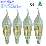 YouOKLight® 4PCS E14 5W 450lm 25 x SMD2835 Warm White Pointed tail High quality LED Candle Light(AC110-120V/220-240V)