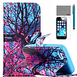 LEXY® Big Tree Flower Pattern PU Full Body Leather Case with Screen Protector and Stylus for iPhone 5C