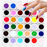 36PCS Soak Off Mixs Pure Solid Color UV Color Gel Phototherapy Glue Nails Qq Barbie Nail(8ml)