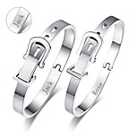 Personalized Valentine's Day Gift Couple's Jewelry Lovers Titanium Steel Silver Bracelets(One Pair)
