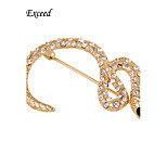 D Exceed Women Jewelry  Snake shaped Brooches Gold Pleated White Rhinestone Unique Gift
