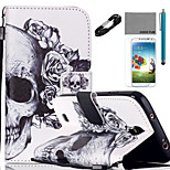 COCO FUN® Flower Skeleton Pattern PU Leather Case Cable Flim Stylus and Stand for Samsung Galaxy S4/S4 MINI/S5/S5 MINI
