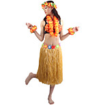 60cm Adults' Fire-Proof Double Layers Hawaiian Carnival Hula Dress Wristbands Necklace Bra and Headpiece