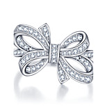 Luxurious Party Bows Accessories 925-Sterling-Silver White Cubic Zirconia Rings For Women&Lady