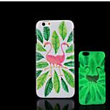 patrón de flamencos brillo en la cubierta trasera de plástico duro oscuro para el iphone 6 para el caso 6s iphone