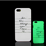 Motto Phrase Pattern Glow in the Dark Hard Plastic Back Cover for iPhone 5 for iPhone 5s Case