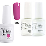LIBEINE 1set(Color 007 + Base Coat+ Top Coat) 3PCs Soak Off 15 ML UV Gel Nail Polish Color Gel Polish
