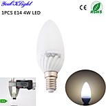 youoklight® 1PCS E14 4w 6 smd5730 320lm 3000K 따뜻한 화이트 높은 품질의 세라믹 주도 촛불 (ac110-120v / 220-240V)