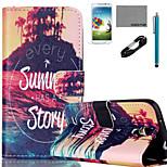 coco Fun® Sommergeschichte Muster PU-Lederetui Kabel flim und Stylus für Samsung Galaxy S4 Mini / S4 / S5 / S5 mini / S6 / S6 Kante