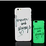 frase lema patrón de brillo en la cubierta trasera de plástico duro oscuro para el iphone 6 para el caso 6s iphone