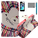 LEXY® Crayon Heart Pattern PU Full Body Leather Case with Screen Protector and Stylus for iPhone 5C