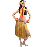 60cm Adults' Fire-Proof Double Layers Hawaiian Carnival Hula Dress Wristbands Necklace and Headpiece