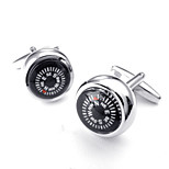 Toonykelly® Fashion Copper Silver Plated Round Compass Gift Button Cufflinks(1 Pair)