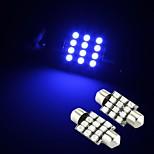 2 x modrá 12 SMD LED podlouhlá vnitřek dome žárovka 36mm