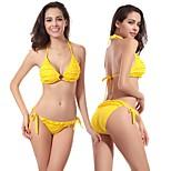 2016 New Fashion Designer Hot Ringed Center Scrunch Butt Small Ruffles Summer Sex Ladies Bikini 10 Colors DM053
