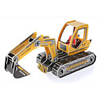 Yellow Excavator 3D Puzzles Paper DIY Toys Modeling Toys