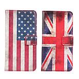 caso de cuero de la bandera ranura de la cubierta del caso tarjeta de bolsillo americano o británico para HTC uno M7