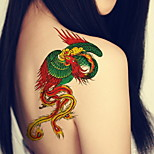 Phoenix 3D Leg Body Back Chest Arm Temporary Tattoos Stickers Non Toxic Glitte Fake Tattoo Waterproof Glitter 22*15cm