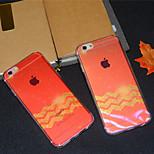 vague feuille d'érable rouge brillant semi-doux couvercle du boîtier arrière pour 6s iphone plus / iphone 6, plus