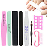 8 Piece Manicure Tools Sponge Polishing Grinding Black-sand Rubbing Dead Skin Fork Points Refers to Cotton Horn Brush
